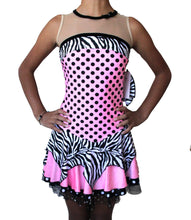 Load image into Gallery viewer, Pink figure skating dress, sleeveless