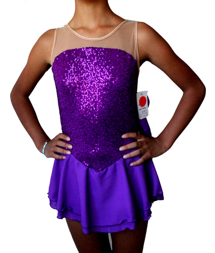 Purple Sequin Figure skating dress