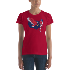 Red Eagle With USA Flag Women's T-Shirt