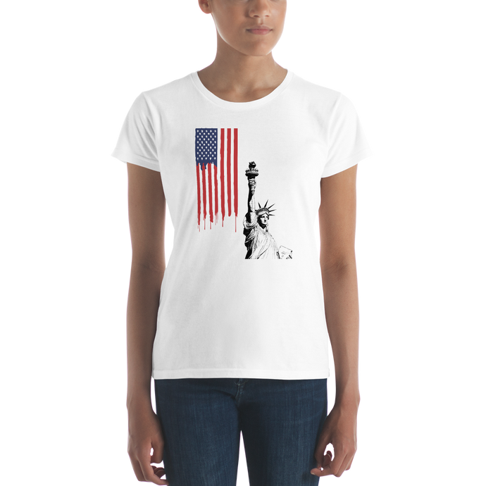 USA Flag And Statue of Liberty Fit T-Shirt