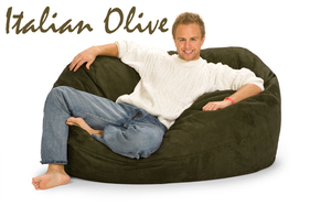 Giant Bean Bag Italian Olive Green 5 Oval