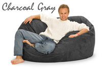 Giant Bean Bag Charcoal Gray 5 Oval