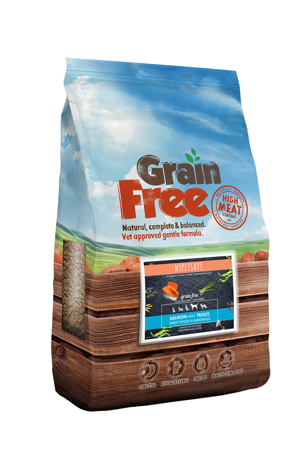Grain Free Large Breed Dog Food-  Salmon with Trout, Sweet Potato & Asparagus