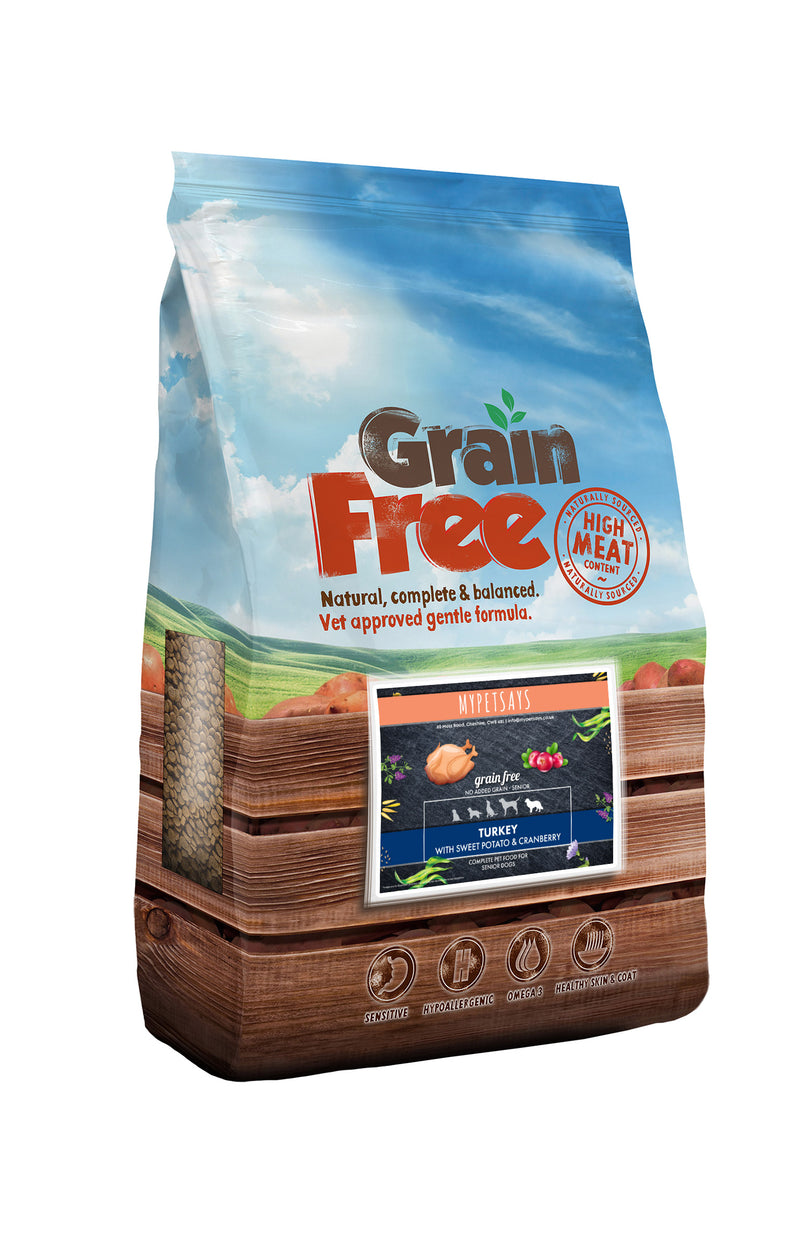 Grain Free Adult Senior Dog Food - Turkey, Sweet Potato and Cranberry