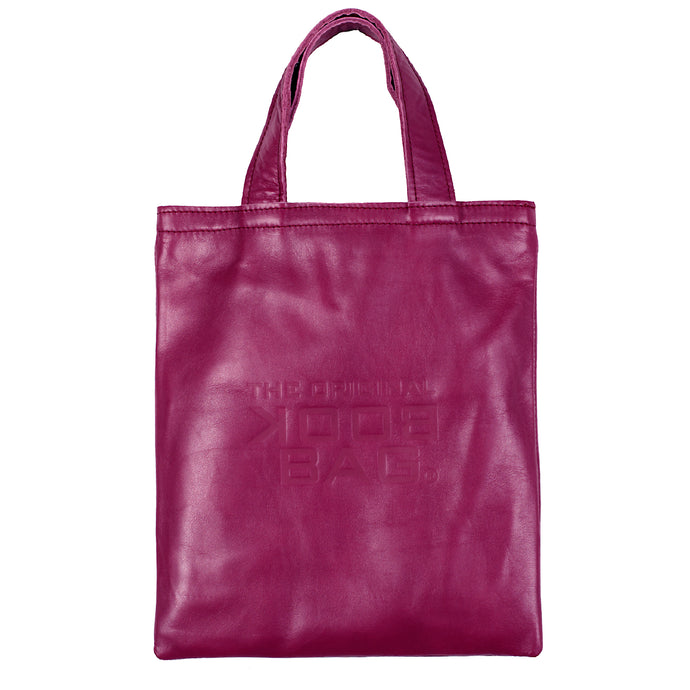 Leather Small Book Bag Magenta