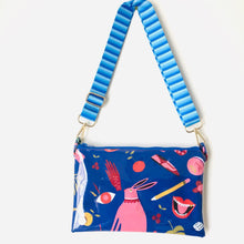 Load image into Gallery viewer, Blue Rabbit Purse Plus+ with blue striped adjustable strap