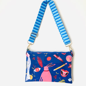 Blue Rabbit Purse Plus+ with blue striped adjustable strap