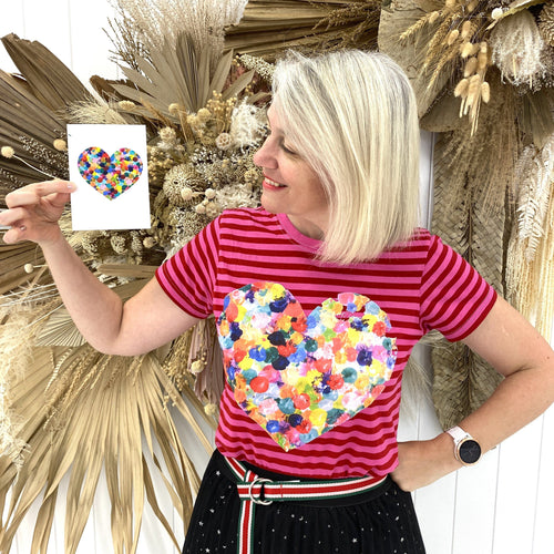 Rainbow Large Heart - Pink Striped T'Shirt