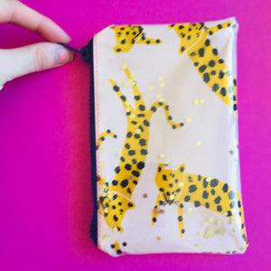 Peach Leopard - Clutches and coin purse