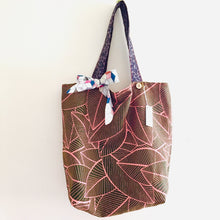 Load image into Gallery viewer, Geo Blush Leaves - Maxi Reversible Tote with tie