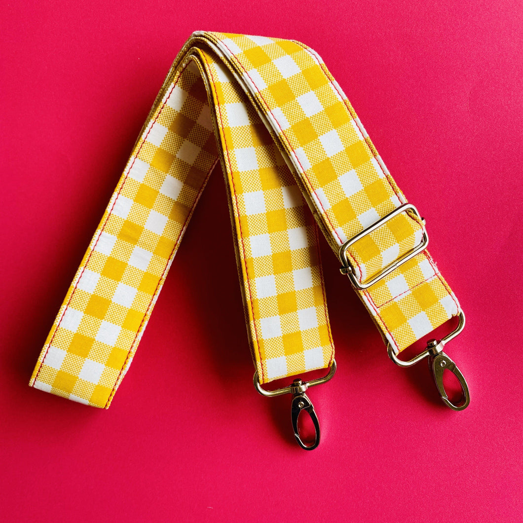 Mustard Gingham - Adjustable Shoulder Strap