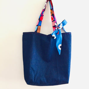 Blue Denim Forest - Maxi Reversible Tote with matching Tie