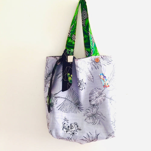 Greyscale Garden - Maxi Reversible Tote with tie