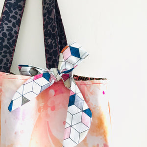 Geo Blush Leaves - Maxi Reversible Tote with tie