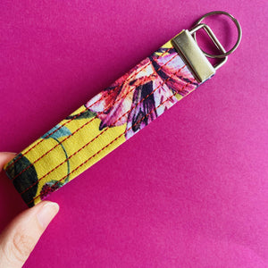 Wristlet Key Fob - Yellow Floral