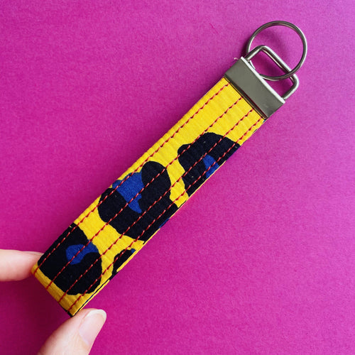 Wristlet Key Fob - Yellow Leopard