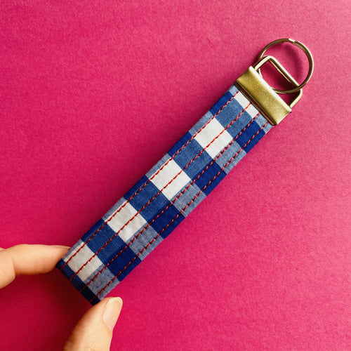 Wristlet Key Fob - Blue Gingham