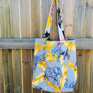 Elephant Banana Leaf - Maxi Reversible Tote with matching tie