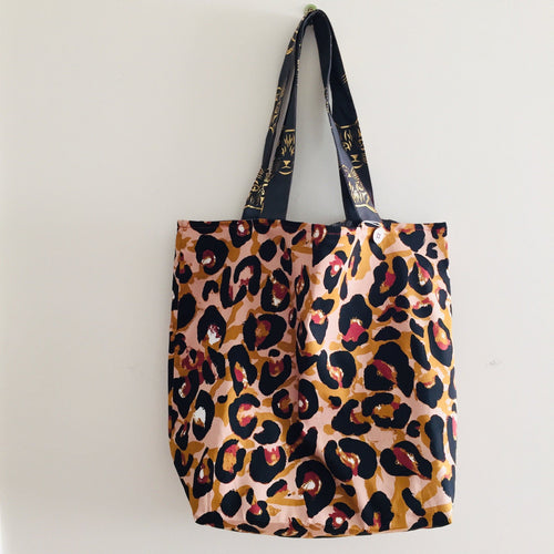 Monochrome Leaf Tiger - Maxi Reversible Tote