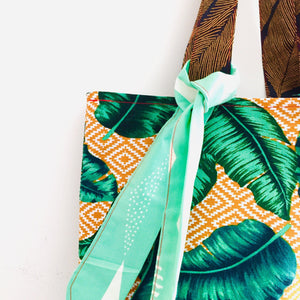 Ochre Leaves - Maxi Reversible Tote with matching Tie