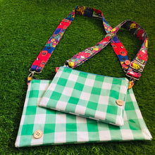 Load image into Gallery viewer, Green Gingham Purse Plus+ with 90's Kids adjustable strap