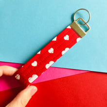 Load image into Gallery viewer, Wristlet Key Fob - Red Hearts