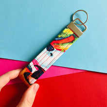 Load image into Gallery viewer, Wristlet Key Fob - Rainbow Parrot
