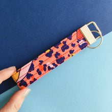 Load image into Gallery viewer, Wristlet Key Fob - Peach Leopard