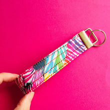 Load image into Gallery viewer, Wristlet Key Fob - Rainbow Zebra