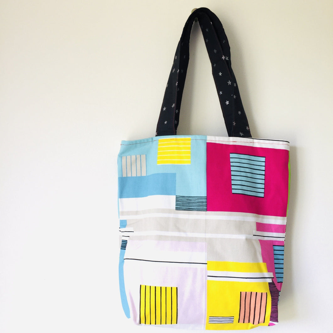 Tiger Bright Blocks - Midi Reversible Tote Bag