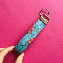 Load image into Gallery viewer, Wristlet Key Fob - Blue Blossom