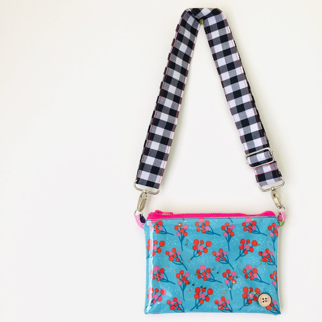 Blue Blossom Midi Purse Plus+ with adjustable strap
