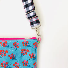 Load image into Gallery viewer, Blue Blossom Midi Purse Plus+ with adjustable strap