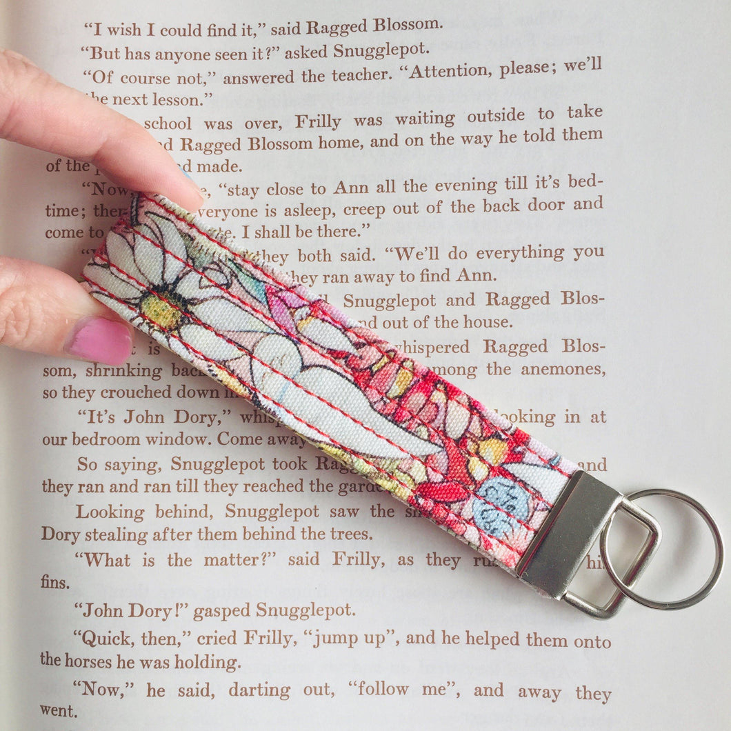 Wristlet Key Fob - May Gibbs Floral Light Pink