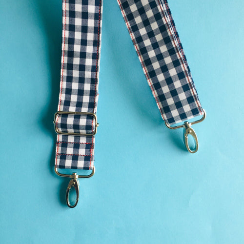 Adjustable Shoulder Strap - Navy Gingham