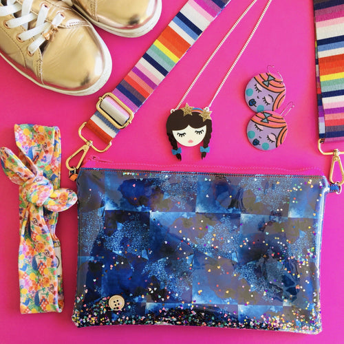 Be Kind and Disco Customisable Purse Plus+ with adjustable strap