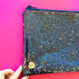 Disco Denim Leopard - Clutch
