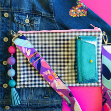 Load image into Gallery viewer, Pom Pom Gingham Purse Plus+ with Pastels Adjustable Strap and Charm