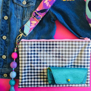 Pom Pom Gingham Purse Plus+ with Pastels Adjustable Strap and Charm