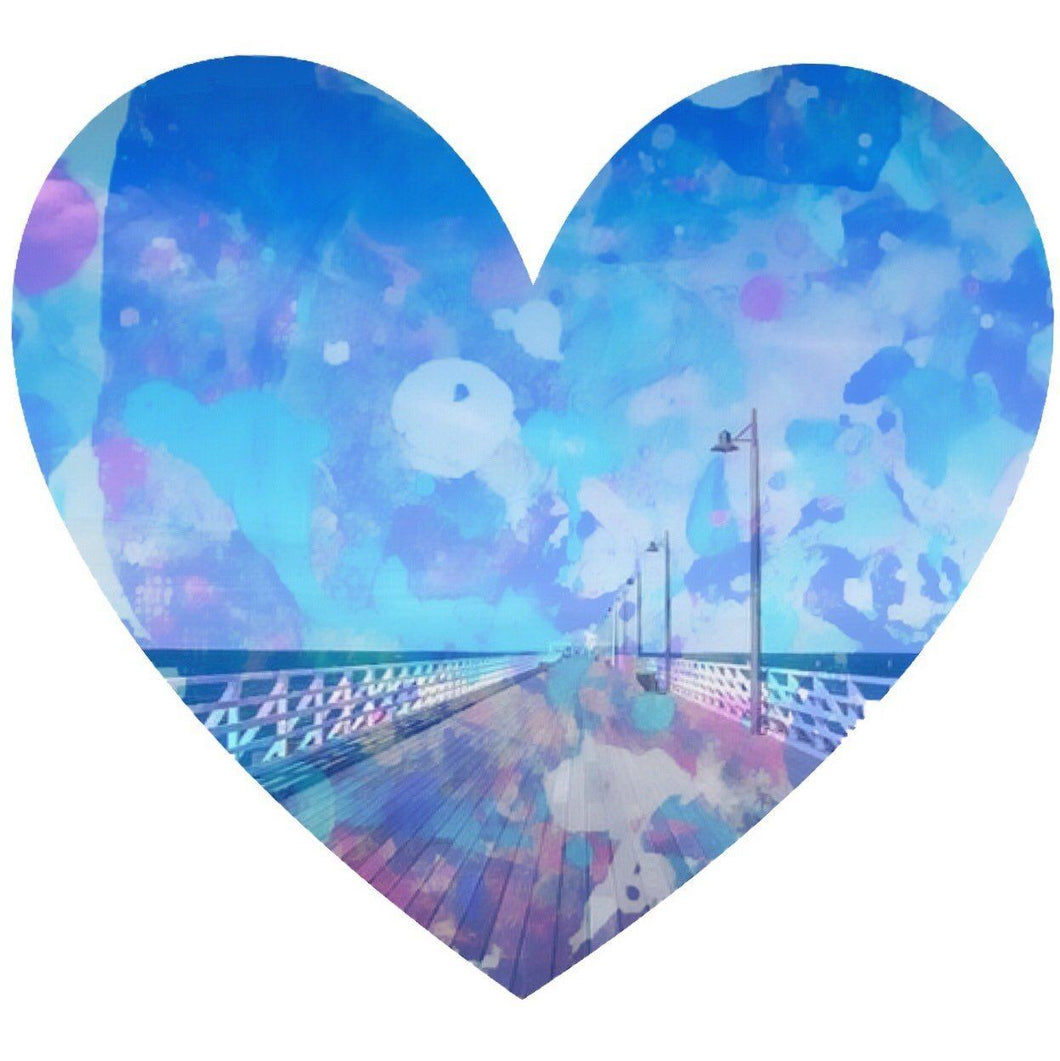 Ocean Pier View Heart - Framed Print