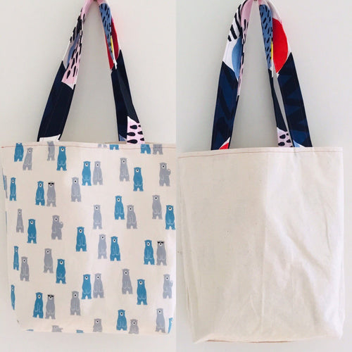 Reversible tote bag polar bear design