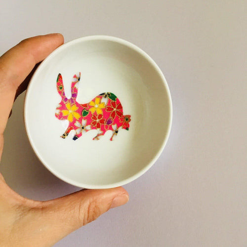 Pink Floral Bunny - Dish