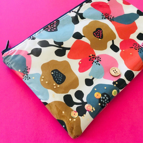 Autumn floral zip clutch pouch