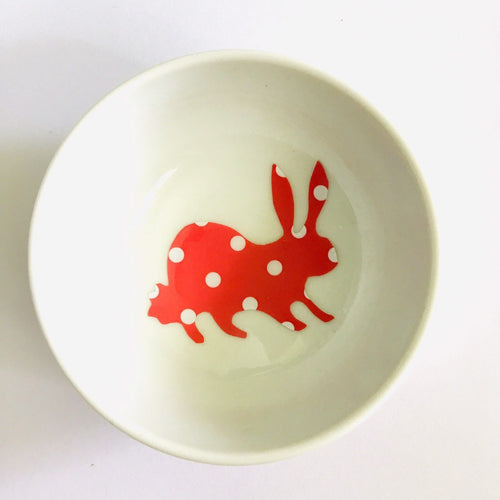 Red Polka Dot Bunny Rabbit - Dish