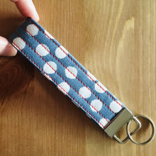 Load image into Gallery viewer, Wristlet Key Fob - Petrol Blue Polka