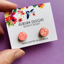 Load image into Gallery viewer, Auburn Designs - Pink Glitter Studs