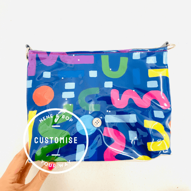 Customisable Pouch Plus+ - Blue Abstract Shapes