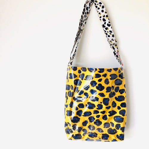 Yellow Leopard - PVC Cross Body Bag
