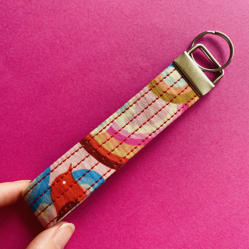 Wristlet Key Fob - Retro Birds