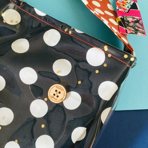 Navy Rust Polka - PVC Cross Body Bag